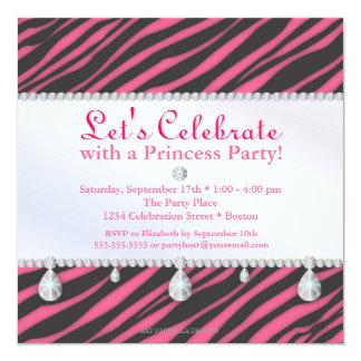 Prinzessin Party Zebra Stripes im rosa Geburtstag Quadratische 13,3 Cm Einladungskarte
