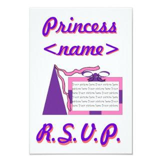 Prinzessin Pink/lila Hut-drittes Geburtstags-Party Individuelle Einladungskarten