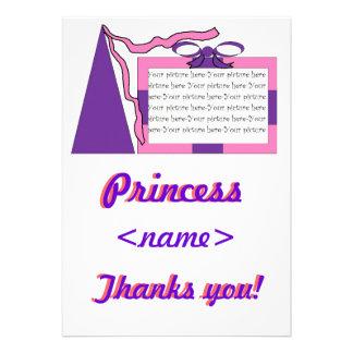 Prinzessin Pink/lila Hut-erstes Geburtstags-Party  Personalisierte Einladung