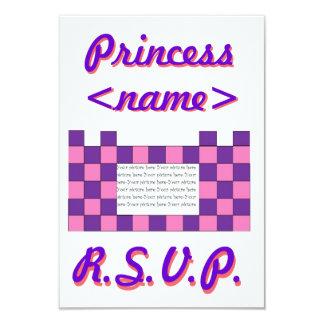 Prinzessin Pink/lila Schloss-erstes Geburtstags-Pa Personalisierte Einladungskarte