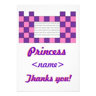 Prinzessin Pink/lila Schloss-viertes Geburtstags-P Individuelle Ankündigungskarte