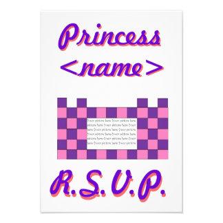 Prinzessin Pink/lila Schloss-zweites Geburtstags-P Personalisierte Einladungen