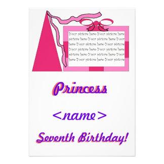 Prinzessin Pink rosa Hut-7 Geburtstags-Party Invi