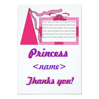 Prinzessin Pink/rosa Hut-drittes Geburtstags-Party Personalisierte Einladungskarte