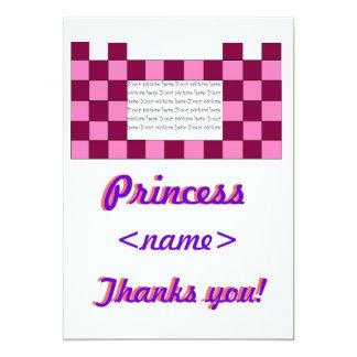 Prinzessin Pink/rosa Schloss-fünftes Geburtstags-P Individuelle Ankündigskarten