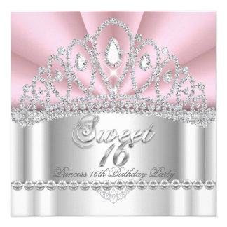 Prinzessin Pink White Diamond Tiara des Bonbon-16 Quadratische 13,3 Cm Einladungskarte