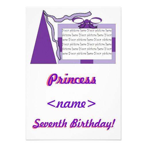 Prinzessin Purple/lila Hut-7. Geburtstags-Party Personalisierte Ankündigung