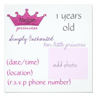 Prinzessin Quadratische 13,3 Cm Einladungskarte