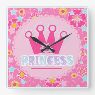 Prinzessin. Quadratische Wanduhr