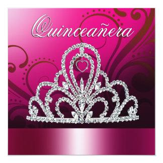 Prinzessin Tiara Quinceanera (fuschia) Quadratische 13,3 Cm Einladungskarte