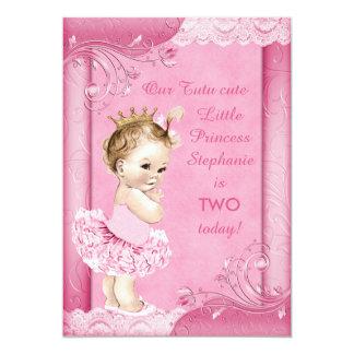 Prinzessin Tutu-Baby-im 2. Geburtstags-Imitat 12,7 X 17,8 Cm Einladungskarte