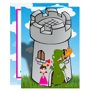 Prinzessin und Drache-Schloss-Geburtstags-Party 12,7 X 17,8 Cm Einladungskarte