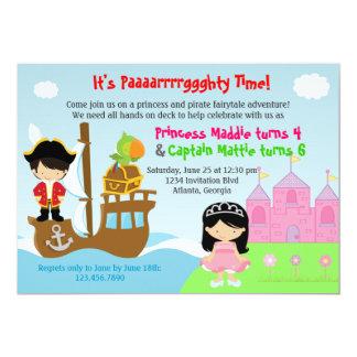 Prinzessin-und Piraten-Zwillings-gemeinsames Individuelle Ankündigskarten