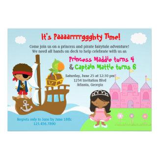 Prinzessin-und Piraten-Zwillings-gemeinsames Personalisierte Einladungen