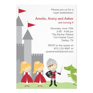 Prinzessin-und Ritter-Geburtstags-Einladungen