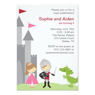 Prinzessin-und Ritter-Geburtstags-Einladungen 12,7 X 17,8 Cm Einladungskarte