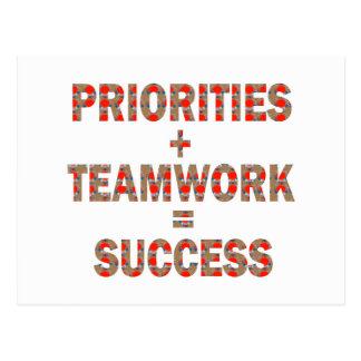 PRIORITÄT Teamwork-Erfolgs-Klugheit Postkarte