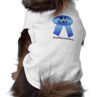 Prize Band-Blau der Katzen-#1 Ärmelfreies Hunde-Shirt