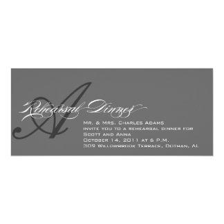 Proben-Abendessen-Einladungs-graues Monogramm A 10,2 X 23,5 Cm Einladungskarte