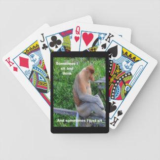 Proboscis-Affe - möglicherweise denkend Bicycle Spielkarten