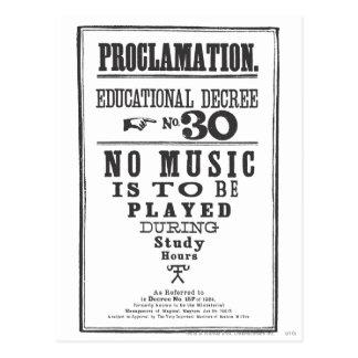 Proclamation 30 carte postale