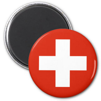 Produits de drapeau de la Suisse Magnet Rond 8 Cm