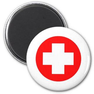 Produits et conceptions de Croix-Rouge ! Magnet Rond 8 Cm