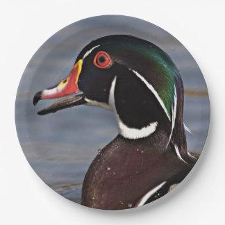 Profil einer hölzernen Ente Pappteller