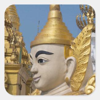 Profil von Buddha-Statue Quadratischer Aufkleber
