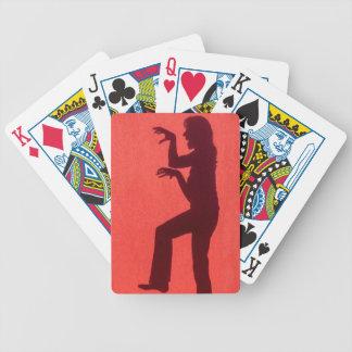 Profilschatten der Frau auf roter Wand Bicycle Spielkarten