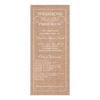 Programme rustique de mariage d'impression de carton d'invitation  10,16 cm x 23,49 cm