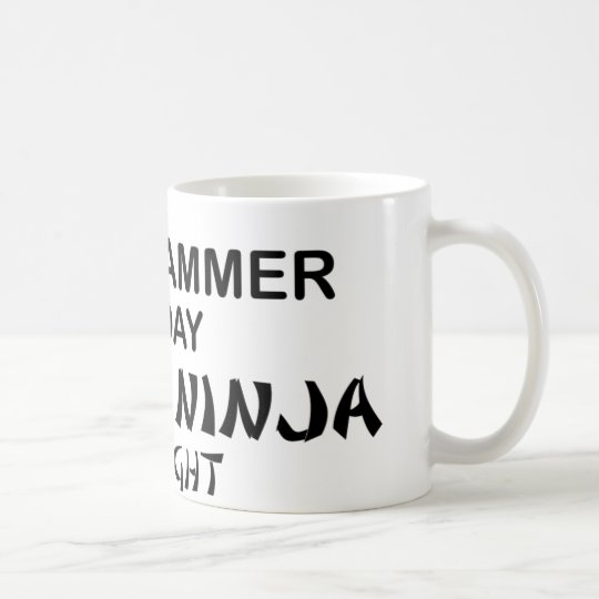 Programmierer tödliches Ninja bis zum Nacht Kaffeetasse
