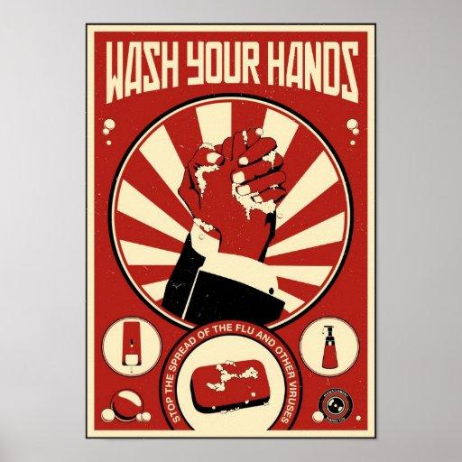 Propagande de bureau : Lavez-vous les mains Affiche