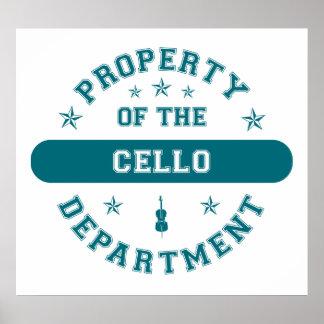 Propriété du département de violoncelle poster