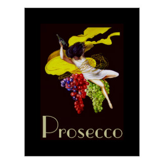 Prosecco Wein-Mädchen-Vintage Dame Posters