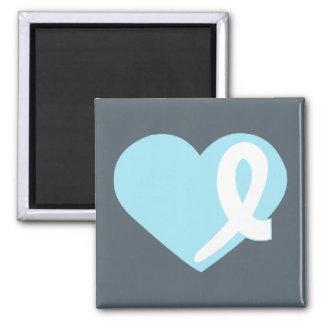 Prostatakrebs-blauer Herzband-Quadratmagnet Quadratischer Magnet