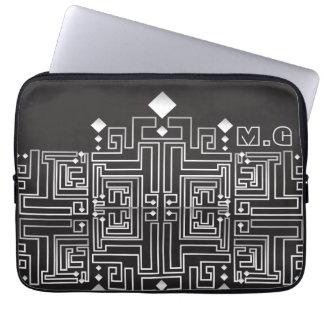 Protection Pour Ordinateur Portable Motif noir et blanc décoré d'un monogramme de