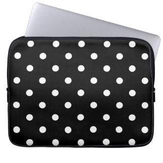 Protection Pour Ordinateur Portable Petit pois - blanc sur le noir