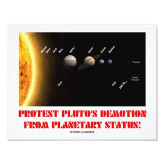 Protest-Plutos Degradierung vom planetarischen Individuelle Ankündigskarten