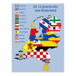 Province flag on Map Holland Postkarte