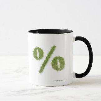 Prozentsatzsymbol gemacht vom Gras Tasse