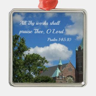 Psalm-145:10 preisen alle Thy Arbeiten Thee Silbernes Ornament