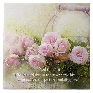 Psalm-147:11, Bibel-Vers, Korb der rosa Rosen, Große Quadratische Fliese