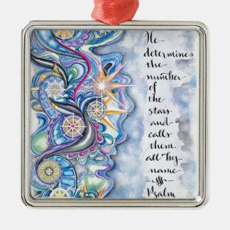 Psalm-147:4 nennt er die Sterne namentlich Silbernes Ornament