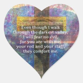 Psalm-23:4 - obwohl ich durch… gehe Herz-Aufkleber
