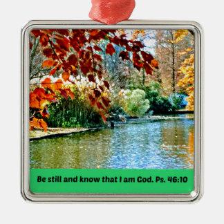 Psalm-46:10 ist noch und weiß, dass ich Gott bin Silbernes Ornament