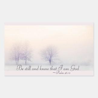 Psalm-46:10 ist noch und weiß, dass ich Gott, Rechteckiger Aufkleber
