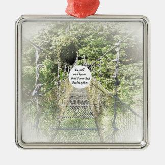 Psalm-46:10 Quadratisches Silberfarbenes Ornament