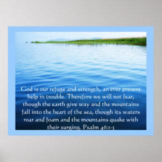 Psalm-46:1 - Gott 3 ist unser Schutz und Stärke Poster