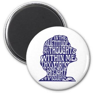 Psalm-94:19: Der Komfort-Magnet-blaues Zeichnen Runder Magnet 5,7 Cm
